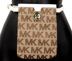 Michael Kors MK Women's Cut Out Leather Canvas Purse Belt Fanny Pack Bag 551501 image 12