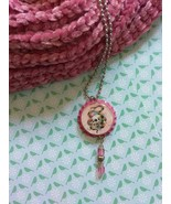 Pink Snake and Skull Bottle Cap Necklace - $3.60