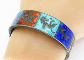 SIAM 925 Silver - Vintage Antique Enamel Niello Dancer Bangle Bracelet -... - $126.69