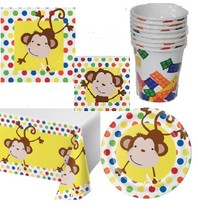 57 pcs Fun Monkey | Banana 8 Guest Starter Party Pack - Cups | Plates | ... - $8.86