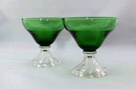 Vintage (2) Anchor Hocking Boopie Forest Green Juice Cocktail Glass