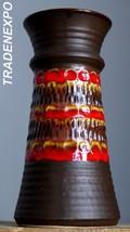 "Tall 10"" Vintage 80s BAY KERAMIK 76-25 Vase Red West German Pottery Fat ... - $21.77"