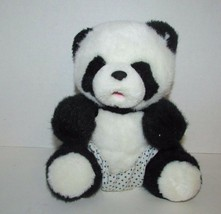 Russ Plush Baby Lang Lang panda bear polka dot diaper pants open pink mo... - $18.80