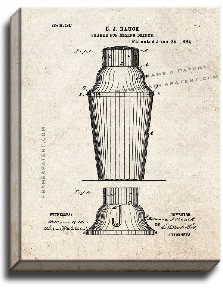 Primary image for Shaker For Mixing Drinks Patent Print Old Look on Canvas
