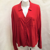 Staring at Stars L Red Button Down Hi Lo Long Sleeves Shirt - $21.54