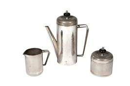 FREE SHIP: Vintage MidCentury Three Piece Tea/Coffee Set - Silver Metal - $42.08