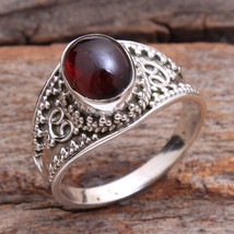 mozambique Red Garnet 925 Sterling silver Jewelry gemstone Ring Size us 8 - $12.99