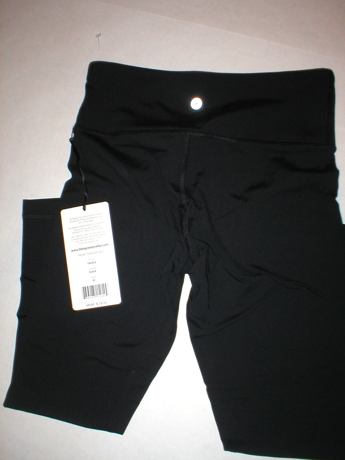 New NWT $80 Womens XS New 90 Degree Reflex Leggings Pants Yoga Black Crop Capris image 1