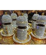 Handmade Copper Turkish Coffee Espresso Tea Set Swarovski Crystal Coated... - $188.59