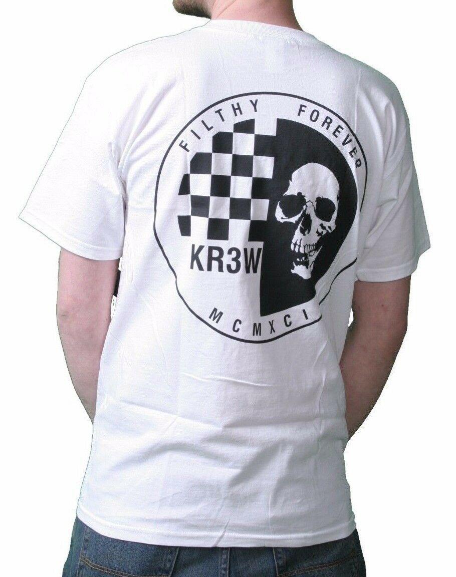 KR3W Skateboarding Mens White Black Skraw Ska Skull Regular T-shirt K52559 NWT