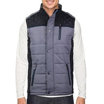 Holstark Men's Zip Up Insulated Fleece Lined Two Tone Vest (Small, Black)