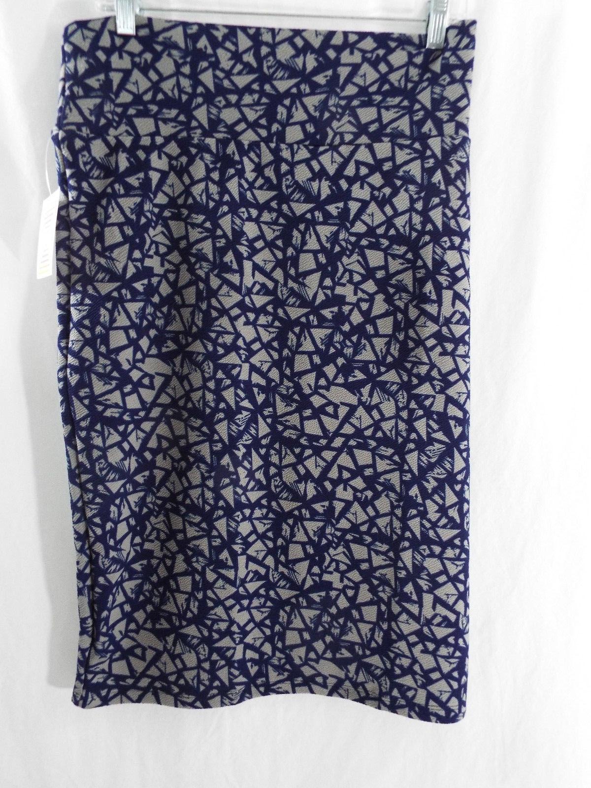 Womens LuLaRoe Cassie Skirt 3XL Gray Dark Blue Abstract NWT - $37.02