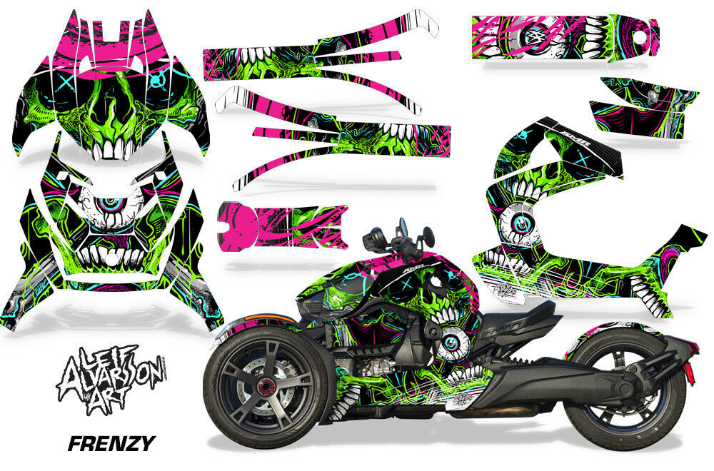 Full Body Wrap Graphic Sticker Decal for Can-Am Ryker 2019 - Frenzy Green