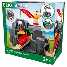 Brio Crane & Mountain Tunnel Wooden Toy Train Set for Kids Ages 3 Years ... - $76.80