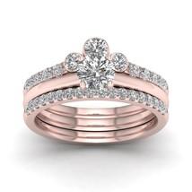 IGI Certified 14k Rose Gold 1 Ct Round Cut Diamond Crown Style Bridal Ri... - $1,329.99
