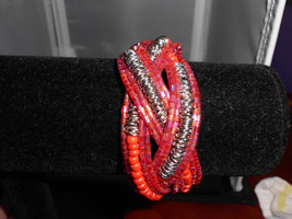 Vintage Silver Tone Pink & Red Beaded Wired Clasp Bracelet - $14.85