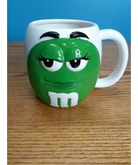 "M&Ms Big Face Ceramic Barrel Coffee Mug Green 5""X5"" Signature M&M's 24oz - $12.82"