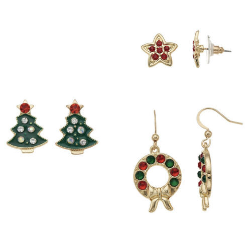 Primary image for NEW Christmas Tree, Wreath & Star Nickel Free Pierced Stud & Drop Earrings Set