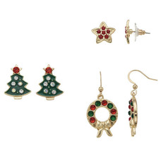 NEW Christmas Tree, Wreath & Star Nickel Free Pierced Stud & Drop Earrin... - $12.86