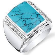 Men's Simulated Turquoise .925 Sterling Silver CZ Ring - $99.99
