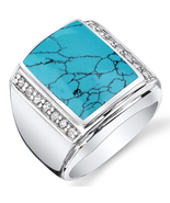Men's Simulated Turquoise .925 Sterling Silver CZ Ring - $98.99