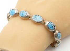 MEXICO 925 Silver - Vintage Turquoise Smooth Oval Link Chain Bracelet - ... - $84.20