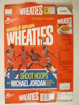 Empty WHEATIES Cereal Box 1990 18oz MICHAEL JORDAN Shoot Hoops Game [G7E2a] - $11.52