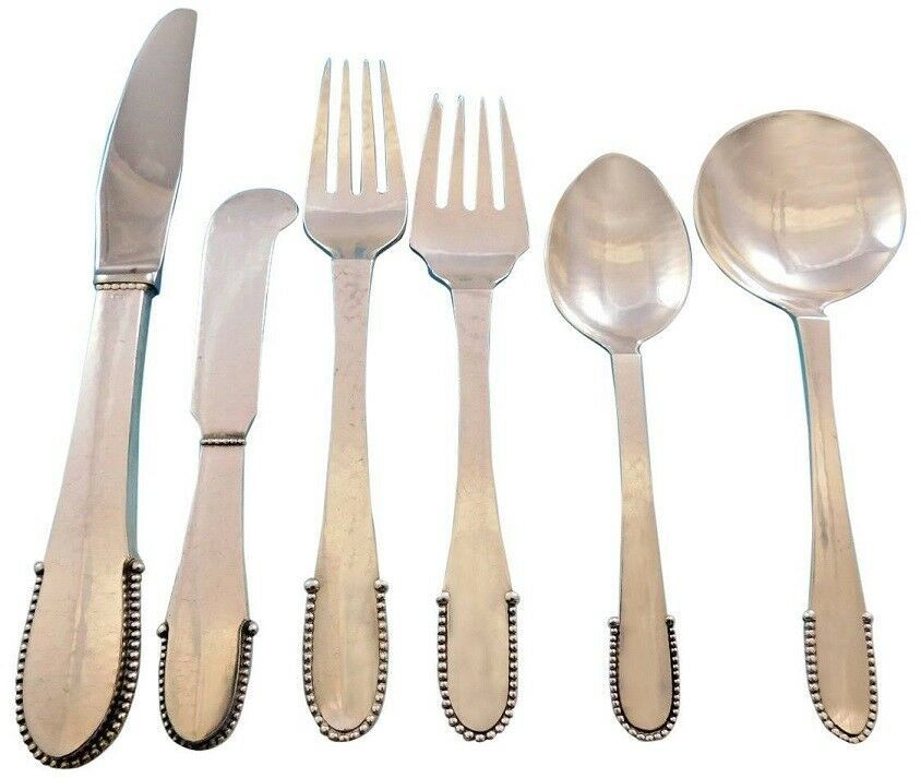 Primary image for Beaded by Georg Jensen Sterling Silver Flatware Set for 12 Service 72 pcs Dinner