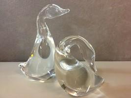 """Steuben Glass Goose &Gander Figurines """"Steuben"""" Signed Etched on Bottom - $232.65"""