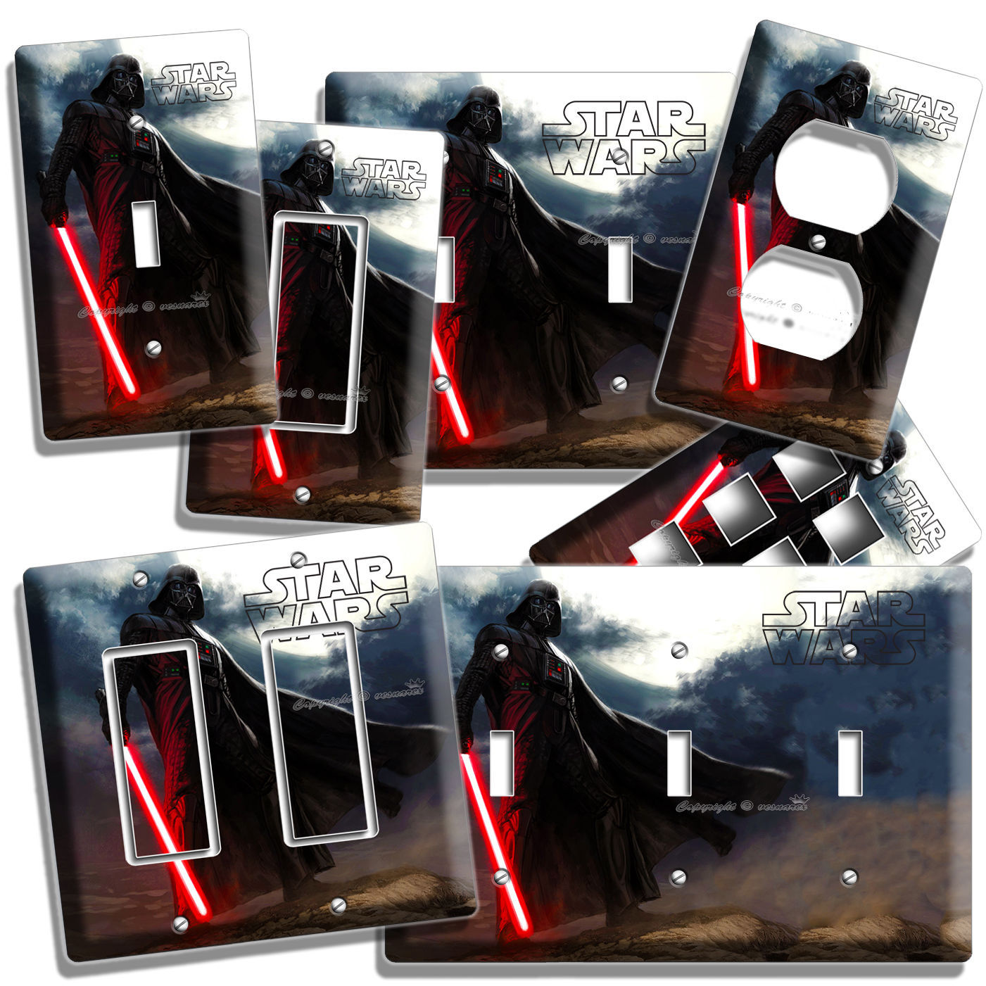 DARTH VADER RED SWORD STAR WARS DARK FORCE LIGHT SWITCH OUTLET WALL PLATE COVER