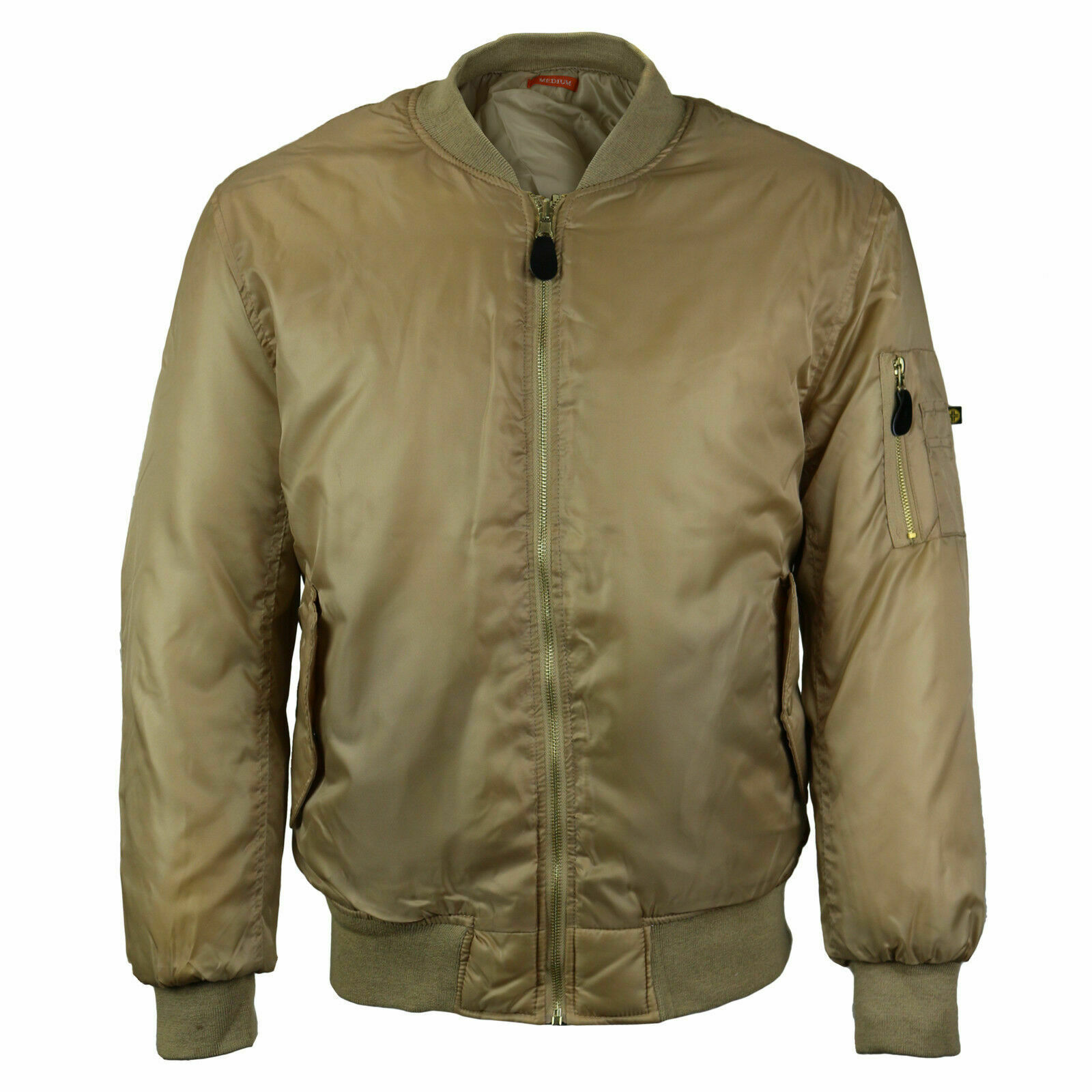 Men's Multi Pocket Water Resistant Padded Zip Up Beige Flight Bomber Jacket - S