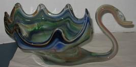 Vintage Multi-Color Art Glass Figural Swan Planter Centerpiece Candy Dis... - $38.61