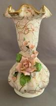 Lefton China Ceramic Pink Rose And Gold Gilt Vase #70443 - $9.00