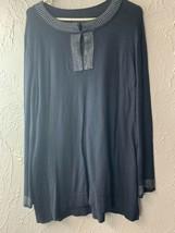 DANA BUCHMAN Women's Black Keyhole Rhinestone Sweater Long Sleeves Size XL - $13.98