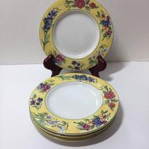 "4 Saucer Bread Plate Sakura Creme Brulee Sue Zipkin 6.5"" Yellow Flowers - $19.34"