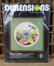 Vintage Dimensions 3548 Perse en Roses Point de Croix Chat - $22.02