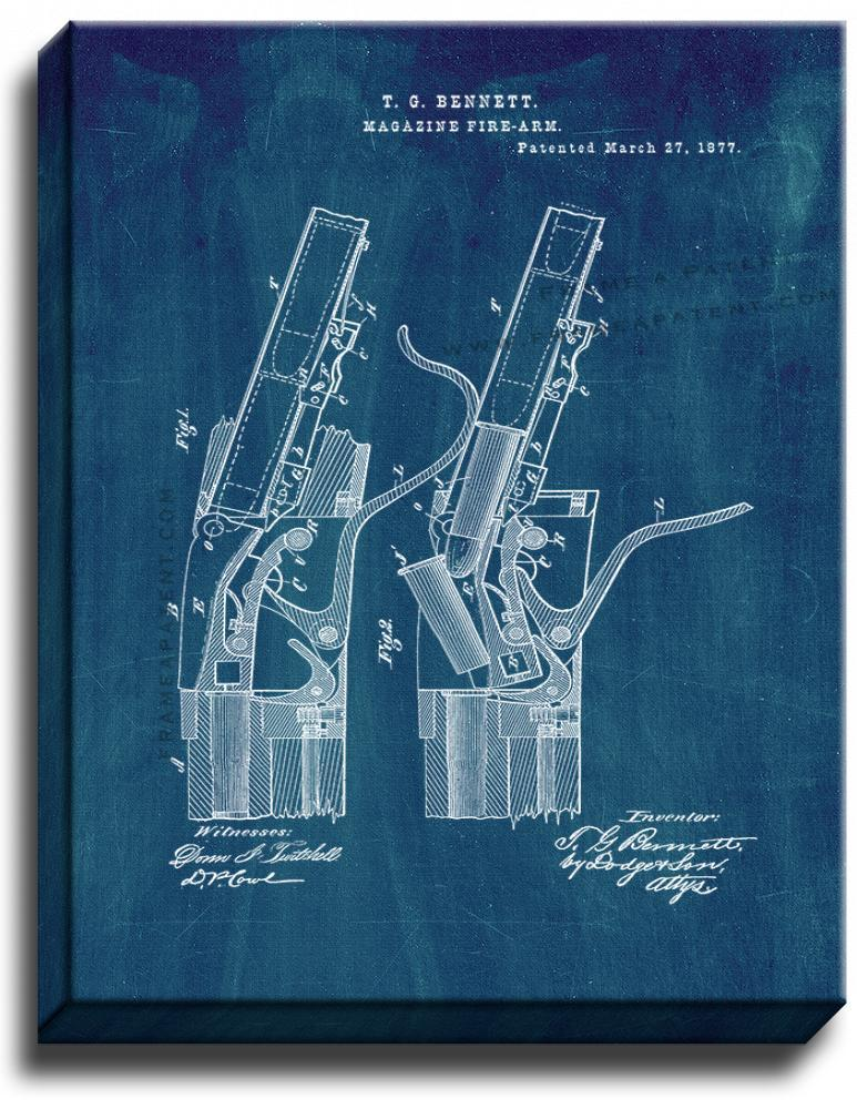Primary image for Rifle Patent Print Midnight Blue on Canvas