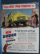 1951 Dodge Truck Ad ~ Bright Yellow Truck ~ They're Here! More Powerful - $7.88