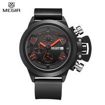 MEGIR 2002 Male Quartz Watch Date Display 30M Water Resistance Silicone ... - $29.89