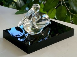Baccarat Pelican French Crystal Signed Mint Condition Free Acrylic Display Block - $127.71