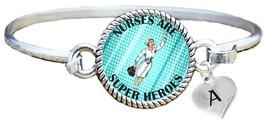 Nurses are Super Heroes Comic Look Silver Cuff Bracelet Jewelry Choose Initial - $14.24