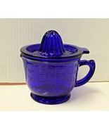 New Cobalt Blue Glass Juicer and 2 Cup Measuring Mixing Bowl Retro Depre... - $18.00