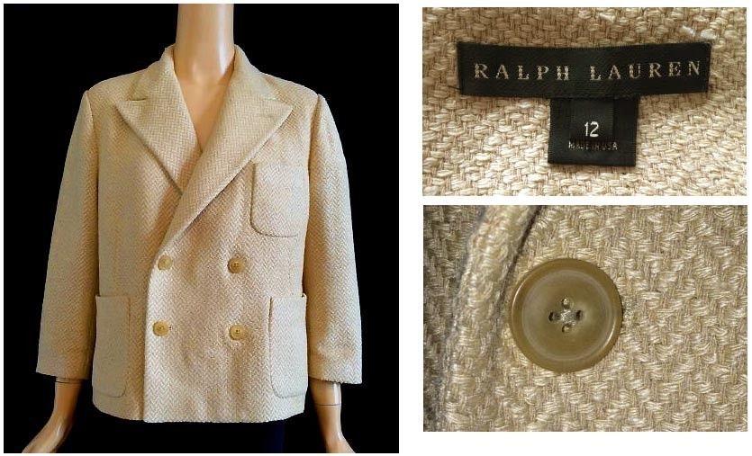 Ralph Lauren Black Label Beige Woven Tweed Double Breasted Short Jacket 12