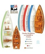 BOAT BOOKSHELF - 4' & 6' Rowboat 5 Colors Nautical Bookcase Amish Handma... - $284.17+
