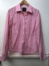 American Eagle Outfitters Womens Top Size 14 Pink Stretch Tailored Button Shirt - $14.95