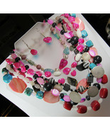HUGE 1 POUND Lot Pink Red Blue Stone Toggle Clasp Beaded Necklaces Earri... - $26.72