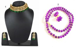 Bollywood Bridal Wedding Kundan Beaded Pair Necklace Earring Fashion Jew... - $28.70