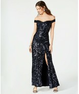 Nightway Sequined Off-The-Shoulder Gown Navy Size 12 $149 - $56.05