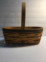 Longaberger 1997 Small Easter Basket  Natural Dark Green Handwoven Good ... - $28.01