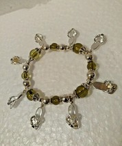 VINTAGE  Flip Flop Bracelet with 8 Charms Citrine and Silver Plated Beads - $7.91